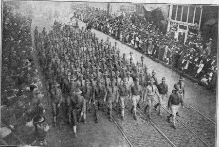 Troops marching W W I